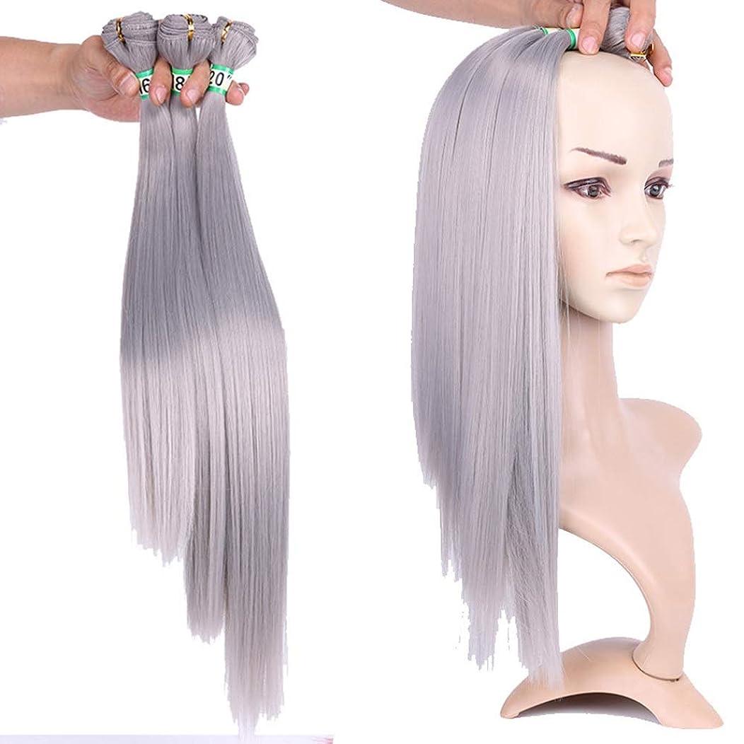 シンボルフライカイトまっすぐBOBIDYEE おばあちゃんの灰ストレート合成髪織りバンドルヘアエクステンション - シルキーストレートヘアコンポジットヘアレースかつらロールプレイングウィッグロングとショートの女性自然 (色 : Grandma ash, サイズ : 20
