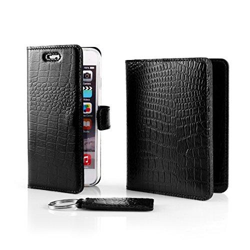 SURAZO Cayme - Leder Geschenkset Handy Schutzhülle, Geldbörse, Schlüsselring - Farbe Schwarz von Vintage Kollektion für Microsoft Lumia 950 XL