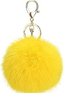 Ball Pom Pom Keychain Genuine Fur Ball Keyring Fluffy Accessories Car Bag Charm