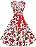 Damen Vintage 50er Cap Sleeves Dot Einfarbig Rockabilly Swing Kleider Sommerkleider für Hochzeit White Cherry M