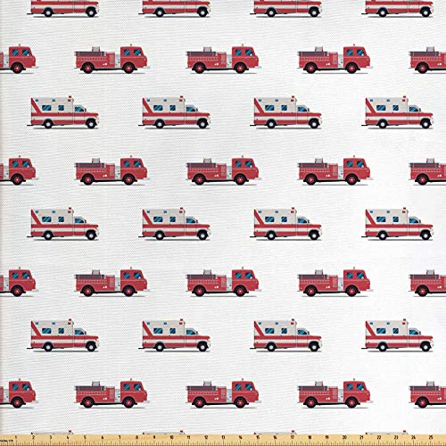 Lunarable Fire Truck Fabric by The Yard, Pattern of The Fire Engines and Ambulances Security Safety and Rescue Vehicles, Decorative Fabric for Upholstery and Home Accents, 1 Yard, Ruby
