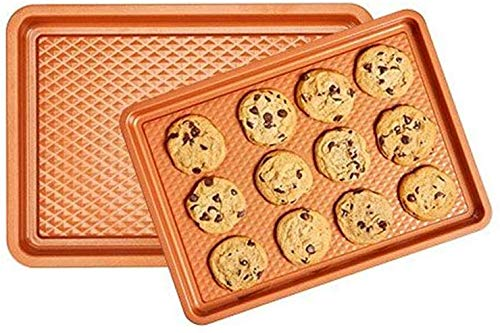 Copper Chef Diamond Bakeware 2-Pack Baking Tray Cookie Sheet Set (9x13 and 10x15) - Non Stick Chef-Grade Baking Pans - Baking Sheets for Oven