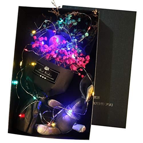 Brizz Mooie handgemaakte doe-het-zelf zeep bloemen cadeau + LED-licht + hazenpop roze boeket bloemenboeket bruiloft home festival cadeau voor Moederdag, Valentijnsdag, Thanksgiving, Kerstmis, jubileum 16.5 x 16.5 x 8.5cm blauw