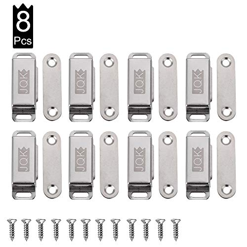 JQK Magnetic Cabinet Door Catch, Stainless Steel Closet Catches, Furniture Latch 15 lbs (Pack of 8), CC100-P8
