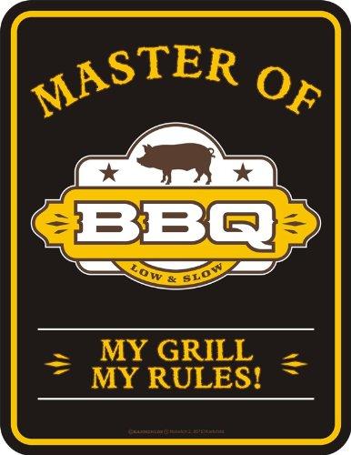 Schild: Master of BBQ - von Rahmenlos - 17cm x 22cm, Mehrfarbig