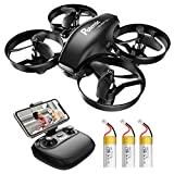 Potensic A20W Drone for Kids, Mini Drone with Camera 720P HD, RC FPV Drone(3 Batteries)with Altitude Hold, Headless Mode, Gravity Sensor, One Key Start Easy for Beginners