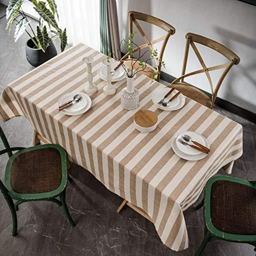 Mantel de Rayas Retro de algodón teñido en Hilo de Lino decoración del hogar Cubierta de Mesa Rectangular a Prueba de Polvo Cocina Comedor J 140x200cm