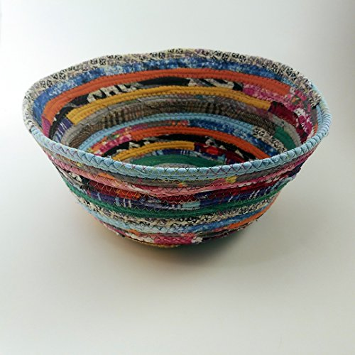 "Multicolor Jewels Fabric Basket, Large 9"" Bowl, Made to Order, Braided Rug Style, Upcycled, Eco-Conscious, Eco-Friendly, Fabric Gift Basket, Boho Hippie Unique Colorful, Vintage Inspired"