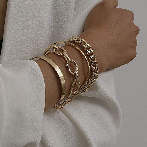 fxmimior Dainty Simple Gold Silver Punk Layering Bracelets Set for Women Girls Handmade Simple Cute Charm Chain Punk Bracelet Adjustable Bracelet Set of 4 (Gold)