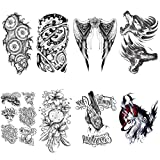 Yesallwas Large Temporary Tattoo Sticker Fake Tattoo for Men, Teens Guys 8 Sheets, Waterproof Fake Tattoo for Shoulders Chest & Back - Wolf,Mechanical wings, mafia,Robot arm,Word,Dreamcatcher Tattoo