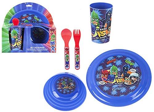 SRV Hub - Juego de 5 piezas de comedor para niños o desayuno, con máscara de personaje de Disney pintada, ideal para picnic y camping, no tóxica, sin BPA, juego de máscara
