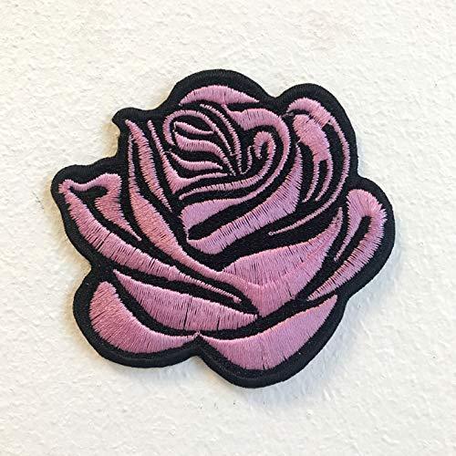 Mooie roze Rose Lady kleding jas shirt ijzer op naaien op geborduurde patch