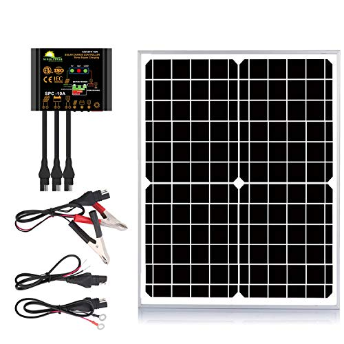 SUNER POWER 20 Watts Mono Crystalline 12V Solar Panel Kits - Waterproof 20W Solar Panel + Upgraded 10A Solar Charge Controller + 3-PCS SAE Cable Adapters for Car RV Marine Boat Trailer Off Grid System