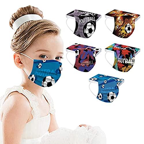 YueLove 50 Stück Kinder Mundschutz Einweg Mund und Nasenschutz 3D Druck Masken Tücher Halstuch Cartoon Motiv 3-lagig Einmal Staubdicht Atmungsaktiv Bandana Schals für Jungen Mädchen