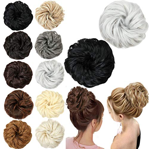 SHUOHAN Curly Messy Hair Bun Extensions Hair Scrunchies for Women Girls Hair Extension Ponytail Brown Mix Beige Hair Buns Hair Wrap Curly Wave Hairpieces (black&silver)