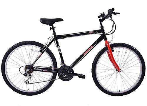 "Ammaco. Arden Trail 26"" Wheel Mens Adults Mountain Bike 21 Speed 19"" Frame Black/Red"