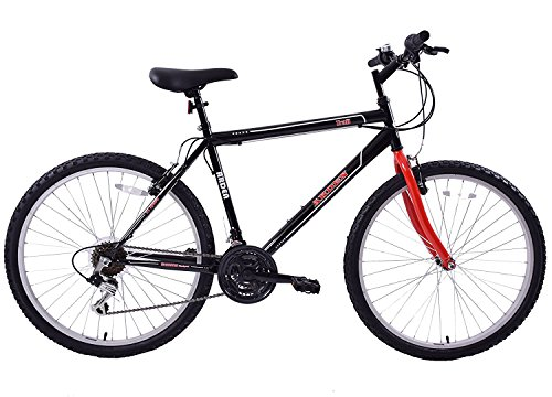 Ammaco. Arden Trail 26' Wheel Mens Adults Mountain Bike 21 Speed 19' Frame Black/Red