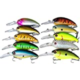 KEESHINE Fishing Lure for Bass, 10 Packs Shallow/Deep Diving Crankbait Bass Trout Fishing Lure Swimbait Wobble Hard Baits Freshwater and Saltwater (Pack of 10)
