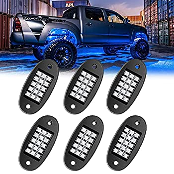 MustWin RGB LED Rock Lights 90 LEDs Multicolor Neon Underglow Waterproof Music Lighting Kit with APP & RF Control for Jeep Off Road Truck Car ATV SUV Motorcycle(6 Pods)-Ship from America