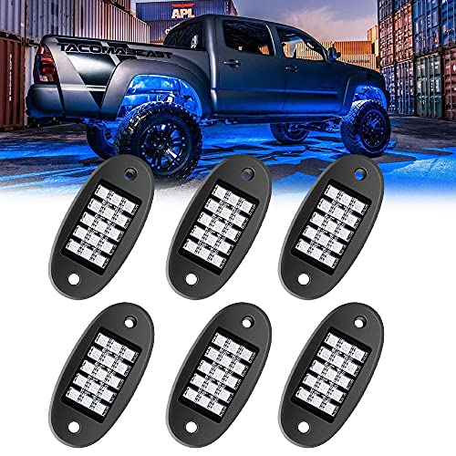 MustWin RGB LED Rock Lights, 90 LEDs Multicolor Neon Underglow Waterproof Music Lighting Kit with APP & RF Control for Jeep Off Road Truck Car ATV SUV Motorcycle?6 Pods?-Ship from America
