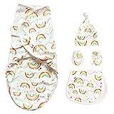 NCONCO - Juego de saco de dormir para bebé recién nacido de algodón con arco iris + gorro + guantes + paño para eructos