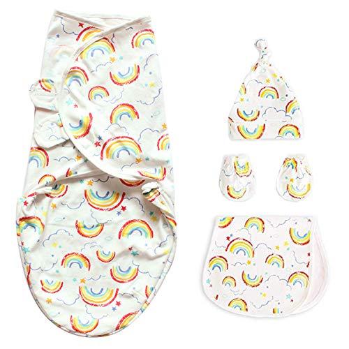 Baby Wickel Wrap Neugeborene Baumwolle Decke Regenbogen Säugling Schlafsack Set Enthalten Schlafsack Krippe Wrap + Hut + Handschuhe + Spucktuch