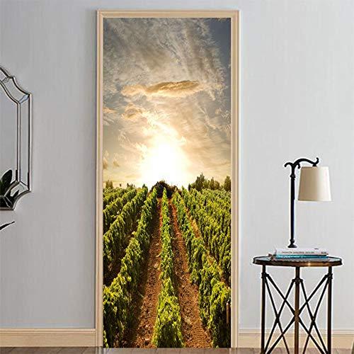 Sonnenaufgang & Traubenfeld Wand Sickers Tür Aufkleber Tapete Abziehbilder Home Decoration