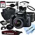 Canon EOS 3000D (Rebel T100) DSLR Camera with 18-55mm f/3.5-5.6 Zoom Lens + 32GB Card, Tripod, Case, and More (18pc Bundle)