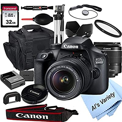 Canon EOS 3000D (Rebel T100) DSLR Camera with 18-55mm f/3.5-5.6 Zoom Lens + 32GB Card, Tripod, Case, and More (18pc Bundle) from Al's Variety-Canon Intl