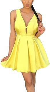Jonlyc A-Line V-Neck Sleeveless Satin Short Homecoming Dresses
