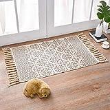 Tappeto in cotone lavabile, tappeto stampato vintage in cotone con nappe, per camera da letto, soggiorno, cucina, lavanderia, 60 x 90 cm (motivo floreale nero)