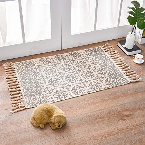 KAZOLEN Teppich Läufer Flur Waschbar Baumwollteppich Retro Teppich Marokkanische Baumwolle Vintage Teppiche mit Quasten für Küche, Wohnzimmer, Keller, Badezimmer, Türmatte 60x90 cm (Blume)