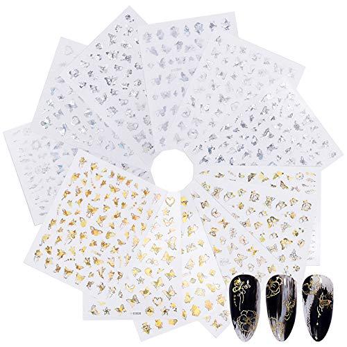 Dokpav 12 Fogli Adesivi Unghie Decalcomania Trasferimento ad Acqua 3D Nail Stickers Water Decals Nails Fai da Te Arte Unghie Autoadesivi Nail Art Colore Misto Adesivi Floreali