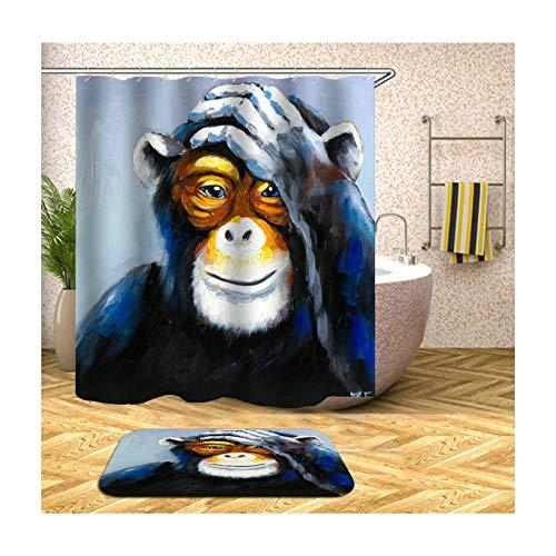 Bishilin Polyester-Stoff 3D Vintage Duschvorhang 165x200, Orang-Utan Badematte Waschbar 40x60 Badematte 2 Set