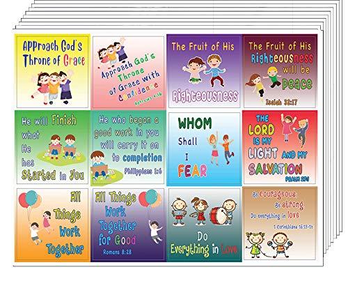 Pegatinas de versículos bíblicos para niños en la escuela (10 hojas)