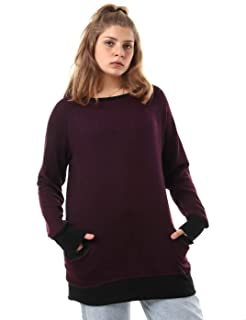 Jamila Front Pocket Contrast Trims Long Sleeves Round Neck Sweatshirt for Women