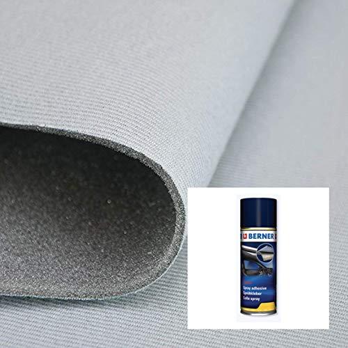 2R STOCK Kit Tessuto Cielo Auto +Colla Spray Trasparente per Alte Temperature (Grigio Chiaro, 2,00x1,40 mt+1 Colla)
