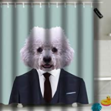 txregxy Bathroom Curtains Shower Curtain Bichon Frise Dog Animal Dressed Up in Navy Blue Suit with Red Tie Business Man Bathroom Decor Set with Hooks 10738 66