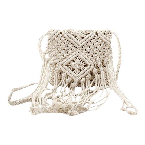 mega Women Tassel Crochet Shoulder Bag Cotton Fringe Bohemian Beach Messenger Satchel White