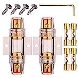 Gebildet 2 pezzi 4/8 Gauge AWG In-line Impermeabile Portafusibile AGU,con 4 pezzi 10×38 mm AGU Fusibili(60A/70A/80A/100A) per Auto Audio/Allarme/Amplificatore/Compressori