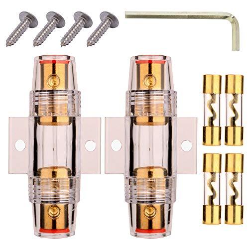 Gebildet 2 stücke 10 x 38mm AGU Sicherungshalter + 4 stücke AGU Sicherung(60A/70A/80A/100A), 4-8 AWG Inline Wasserdichter Glassicherungshalter für Auto KFZ Linie Audio Autoradio