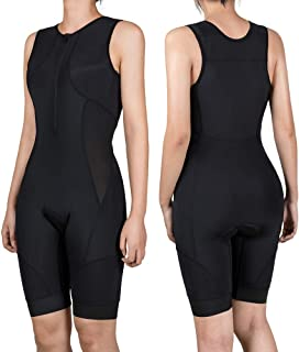 COPOZZ Triathlon Suits Trisuit Women, Premium Anti-Friction Padded Running Swimming Cycling Sleeveless Soft Skin Suit -Slim Athletic Fit