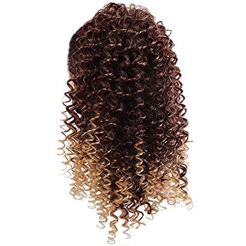 Duo You Doll 14 pulgadas largo rizado estilo clip en garra cola de caballo extensión de pelo sintético Hairpiece onda de maíz Ponytail Hairpiece para las mujeres negro oro