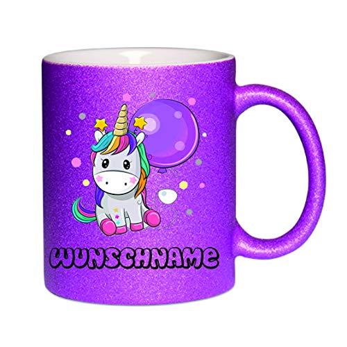 Crealuxe Glitzertasse (Purple) Einhorntasse (Wunschname) - Kaffeetasse, Bedruckte Tasse mit Sprüchen oder Bildern, Bürotasse,