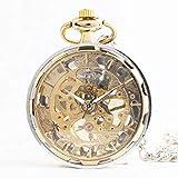 J-Love Nueva Tendencia Coreana de Hombres y Mujeres de Lujo Huecos Transparentes chapados en Oro Relojes Personalidad sin Tapa Reloj Reloj de Bolsillo mecánico