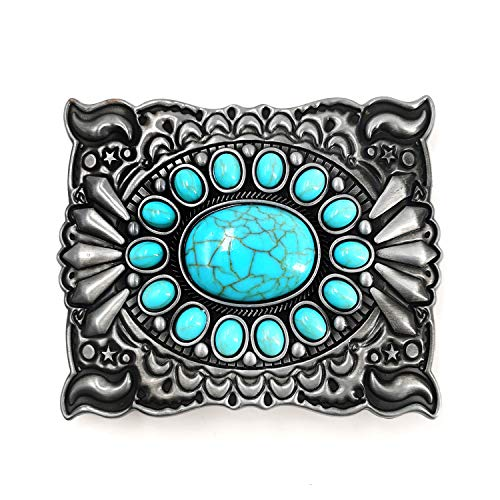 LAXPICOL Vintage Western Turquoise Blue Stone Belt Buckle for Men Celtic Cowboy Native American Belt Buckles Grey Tone