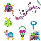 5pcs Rassel Beißring Set Baby Spielzeug Shaker Greifen Rassel Baby Kleinkind Spielzeug Frühe Lernspielzeug für 3 6 9 12 Monate Jungen Mädchen Baby Geschenke