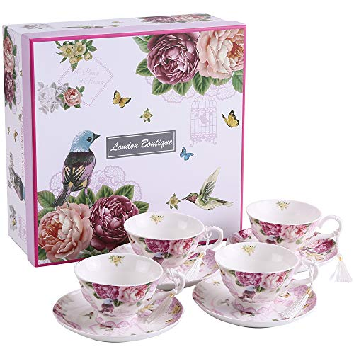 Juego de café compuesto de 4 tazas y 4 platos, perfecto para el té, diseño vintage y elegante, en porcelana, disponible en motivos florales y de mari