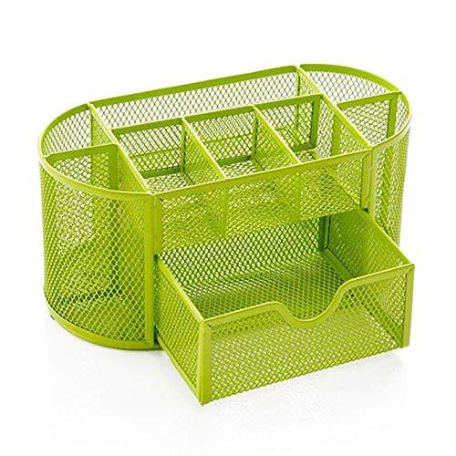 Multifunktionale Bürospeicher Netz Schreibtisch-Organisator Oval Desktop Storage Box Bleistift Stationäre Halter (Farbe : Grün, Größe : Einheitsgröße)