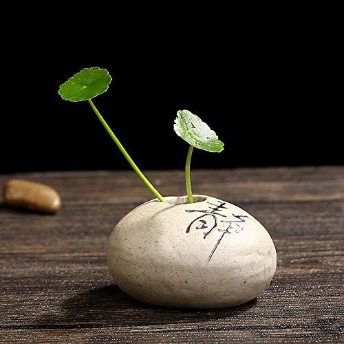 Qeepenl Zen gres cerámico imitación Jarrón Decoración de Piedra Decoración de la Sala hidropónico Tiesto Utensilios Creative Green pequeña Flor florero (Color : G)